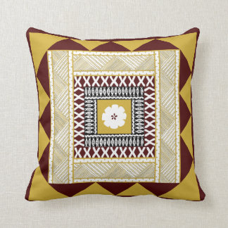 Golden Brown Framed Throw Pillow