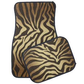 Golden Brown Gold Bronze Zebra Animal Print Car Mat