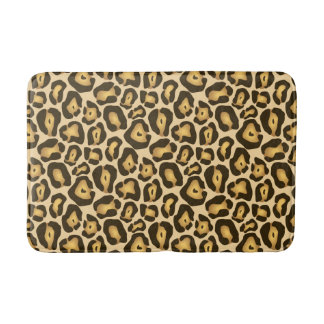 Golden Brown Jaguar Wild Animal Print Pattern Bath Mat