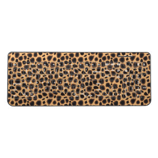 Golden Brown Leopard Cheetah Wild Animal Print Wireless Keyboard