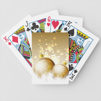 Golden brown new year decoration with snow bicycle playing cards