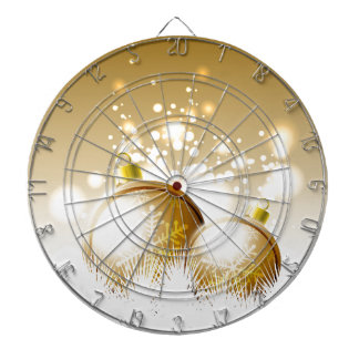 Golden brown new year decoration with snow dartboard