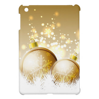 Golden brown new year decoration with snow iPad mini cover