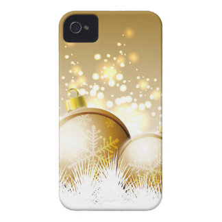 Golden brown new year decoration with snow iPhone 4 Case-Mate cases