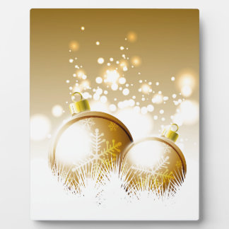 Golden brown new year decoration with snow plaque