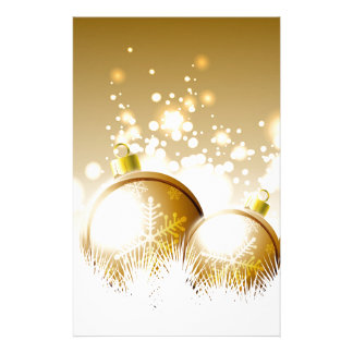 Golden brown new year decoration with snow stationery
