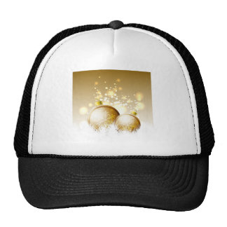 Golden brown new year decoration with snow trucker hat