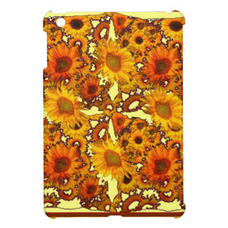 Golden Brown Patterned Sunflowers Art Gifts iPad Mini Cases