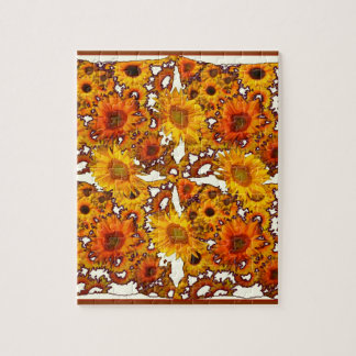 Golden Brown Patterned Sunflowers Art Gifts Puzzles