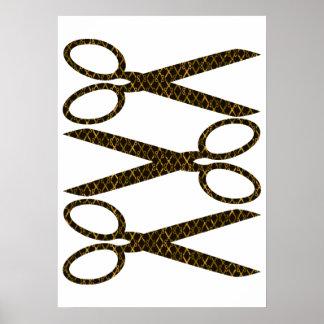 Golden Brown Scissors / Scissor Stripes Poster