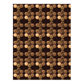 Golden Brown Sexagon : Elegant Decorations Post Cards