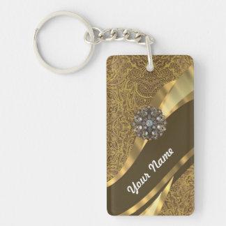 Golden brown swirl pattern Double-Sided rectangular acrylic keychain