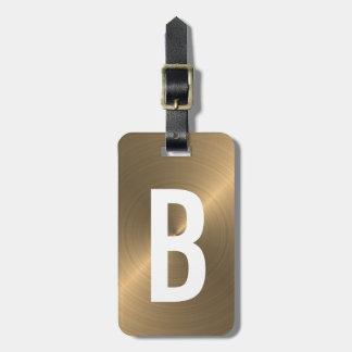 Golden Brushed Metallic Monogram Initial Luggage Tag