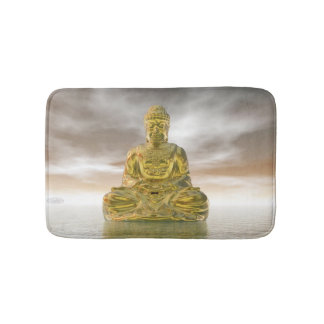 Golden buddha - 3D render Bath Mat