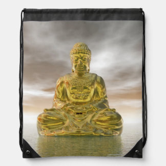 Golden buddha - 3D render Drawstring Bag