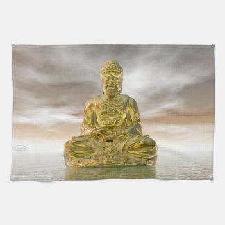 Golden buddha - 3D render Kitchen Towel