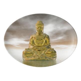 Golden buddha - 3D render Porcelain Serving Platter