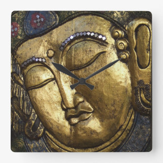 Golden Buddha Blessing Inspirational Love Square Wall Clock