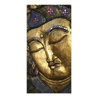 Golden Buddha Eyes Closed Praying Meditating Photo Personalized Photo Card