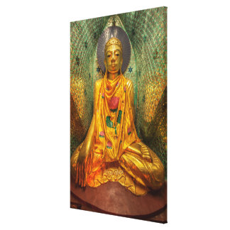 Golden Buddha In Temple Canvas Print