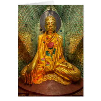 Golden Buddha In Temple Card