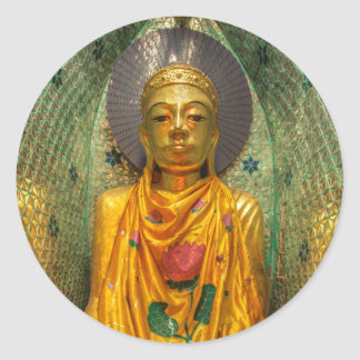 Golden Buddha In Temple Classic Round Sticker