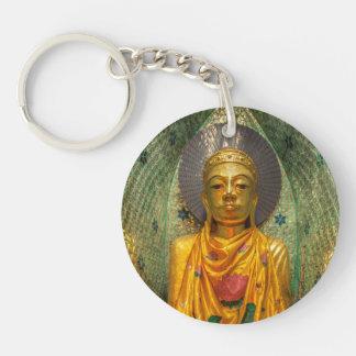 Golden Buddha In Temple Keychain