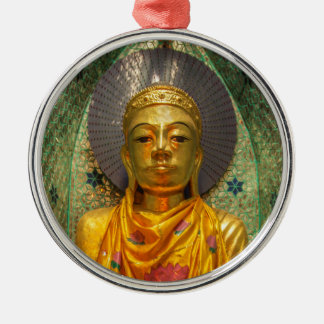 Golden Buddha In Temple Metal Ornament
