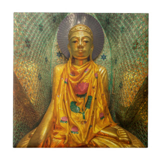 Golden Buddha In Temple Tile