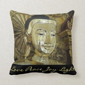 Golden Buddha Love Peace Joy Light Inspirational Throw Pillow
