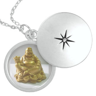 Golden Buddha, Medium Sterling Silver Round Locket