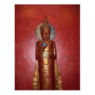 GOLDEN BUDDHA ON RED WALL POSTCARD