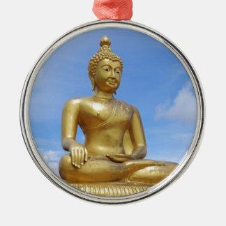 Golden Buddha statue Silver-Colored Round Ornament