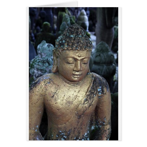 Golden Buddha statue with Bindi Greeting Cards
