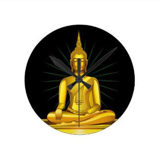 Golden Buddha Wall Clock