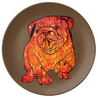 Golden Bulldog  Decorative Porcelain Plate