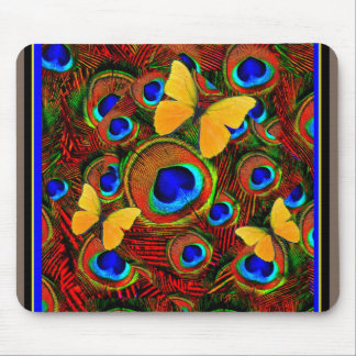 Golden Butterflies Blue Peacock Feathers Mouse Pad