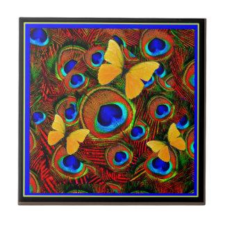Golden Butterflies Blue Peacock Feathers Tiles