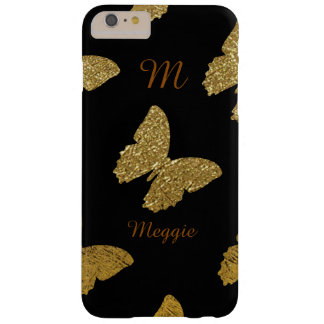 golden butterflies illustration with name barely there iPhone 6 plus case
