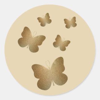 Golden Butterflies In Flight Glossy Stickers