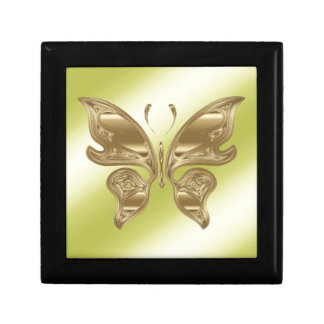 Golden butterfly jewelry box
