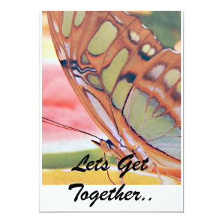 "Golden Butterfly Painting, Lets Get Together.. 5"" X 7"" Invitation Card"