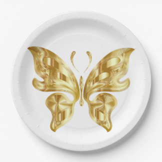 GOLDEN BUTTERFLY PAPER PLATE
