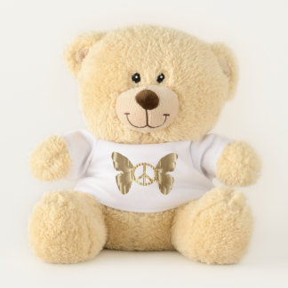 Golden Butterfly Peace Sign Teddy Bear
