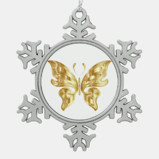 GOLDEN BUTTERFLY SNOWFLAKE PEWTER CHRISTMAS ORNAMENT