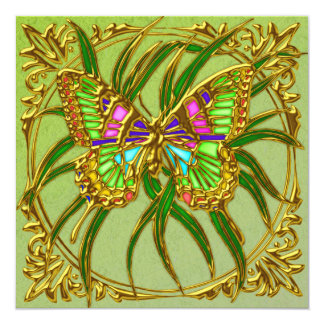 Golden Butterfly Wedding Invitation