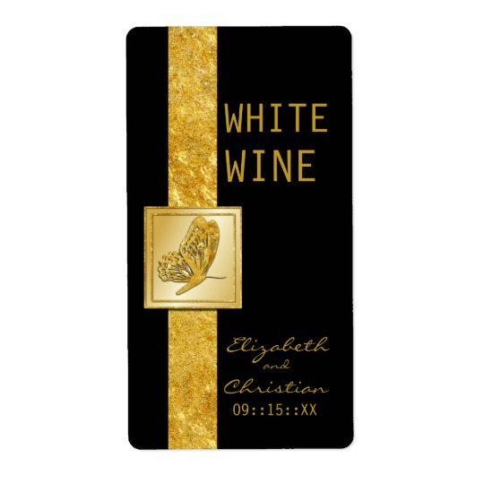 Golden Butterfly Wedding Wine Labels