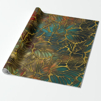 Golden Butterfly Wing Pattern Wrapping Paper