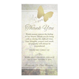 Golden Butterfly Words Cannot Express Thank You Card