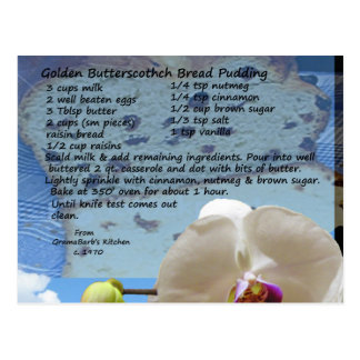Golden Butterscotch Bread Pudding Recipe Postcard